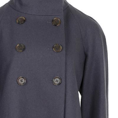 double button high neck coat